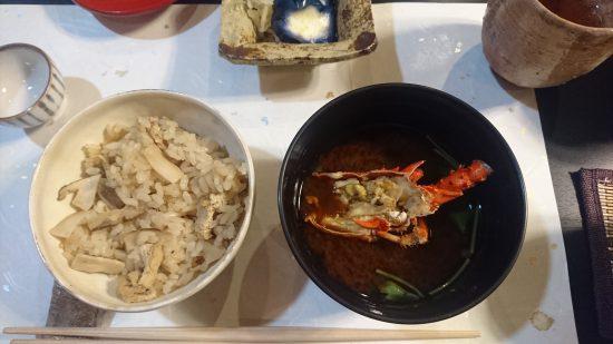 松茸ご飯と伊勢海老のお味噌汁