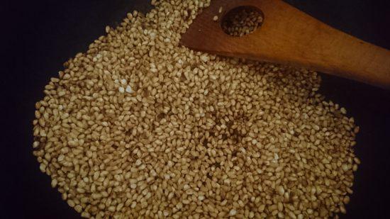 炒り玄米制作過程